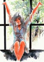 Lynn Minmay sitting on a window sill